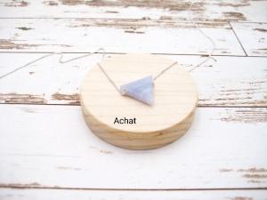 Achat-Kette, Achat Dreieck, Achat hellblau, 925 Silber, Goldfilled, Boxkette, zierlich, minimalistisch, Edelstein - Handarbeit kaufen