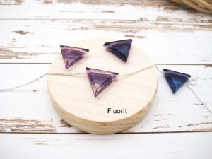 Fluorit-Kette, Fluorit Dreieck, Fluorit Lila Grün Blau, 925 Silber, Goldfilled, Boxkette, zierlich, minimalistisch, Edelstein - Handarbeit kaufen