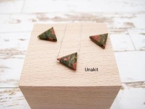 Unakit-Kette, Unakit Dreieck, 925 Silber, Goldfilled, zierlich, minimalistisch, Edelstein - Handarbeit kaufen