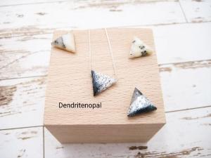 Opal-Kette, Dendritenopal, Anhänger Dreieck, 925 Silber, Goldfilled, Boxkette, zierlich, minimalistisch, Edelstein, Geschenk für Sie - Handarbeit kaufen