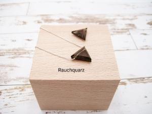 Rauchquarz-Kette, Rauchquarz Dreieck, 925 Silber, Goldfilled, Boxkette, zierlich, minimalistisch, Edelstein, Geschenk für Sie - Handarbeit kaufen