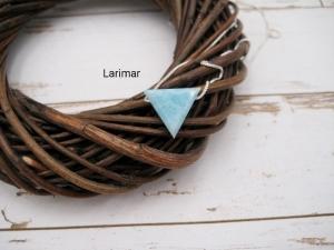 Larimar-Kette, Anhänger Larimar, natürlich, 925 Silber, Goldfilled, Boxkette, zierlich, minimalistisch, Edelstein - Handarbeit kaufen