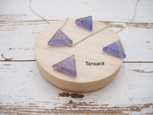 Tansanit-Kette, Tansanit Dreieck, natürlich, 925 Silber, Goldfilled, Boxkette, zierlich, minimalistisch, Edelstein - Handarbeit kaufen