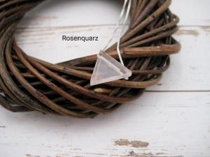 Rosenquarz-Kette, Rosenquarz Dreieck, natürlich, 925 Silber, Goldfilled, Rosegoldfilled, Boxkette, zierlich, minimalistisch, Edelstein - Handarbeit kaufen