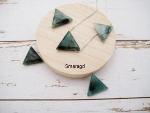 Smaragd-Kette, Smaragd Dreieck, natürlich, 925 Silber, Goldfilled, Boxkette, zierlich, minimalistisch, Edelstein - Handarbeit kaufen