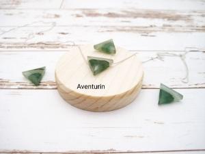 Aventurin-Kette, Aventurin Dreieck, Aventurin grün, 925 Silber, Boxkette, zierlich, minimalistisch, Edelstein - Handarbeit kaufen