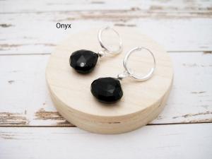 Wechsel-Ohrring-Anhänger Onyx, Onyx Tropfen, facettiert, Creole, 925 Silber, Rosegold Filled, Gold Filled, Edelsteinohrringe - Handarbeit kaufen