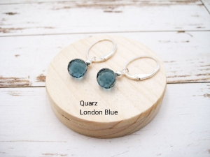 Wechsel-Ohrring-Anhänger Quarz, London Blue Quarz, Creole, 925 Silber, Rosegold Filled, Gold Filled, Edelsteinohrringe - Handarbeit kaufen