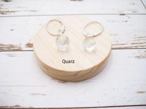 Wechsel-Ohrring-Anhänger Quarz, Rainbow Quarz, Creole, 925 Silber, Rosegold Filled, Gold Filled, Edelsteinohrringe - Handarbeit kaufen