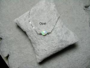 Opalarmband, Opal Nugget, Opalimitat, Opal weiß, Goldfilled, Rosegoldfilled, 925 Silber, minimalistisch, Edelstein - Handarbeit kaufen