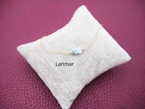 Larimar-Armband, Larimar Nugget, 925 Silber, zierlich, Rosegold Filled, Gold Filled, Edelstein - Handarbeit kaufen