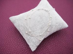 Silber-Armband, Doppeltes Armband, Kugel Armband, 925 Silber, zierlich, Layher, Geschenk für Sie - Handarbeit kaufen