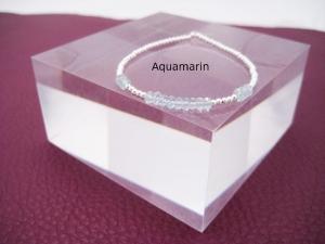 Aquamarin-Armband, Silberperlen, Aquamarin blau, Rondelle, zierlich, 925 Silber, Goldfilled, Rosegoldfilled - Handarbeit kaufen