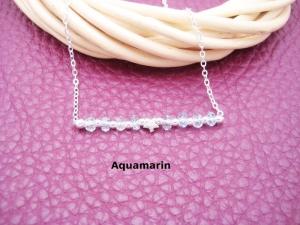 Aquamarin-Armband, Aquamarin hellblau, natürlich, 925 Silber, zierlich, Armband Stern, Rondelle