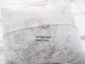 Rohdiamant-Armband, Diamant weiß-grau, Diamant groß, 925 Silber, zierlich, Rosegold Filled, Gold Filled, Edelstein