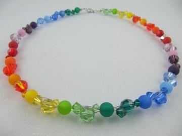 Kette Collier Regenbogen Bunt Polaris Perlen (231) - Handarbeit kaufen
