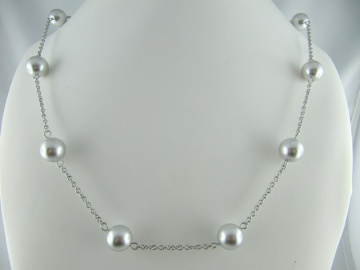 Gliederkette Perlen Grau (490) - Handarbeit kaufen