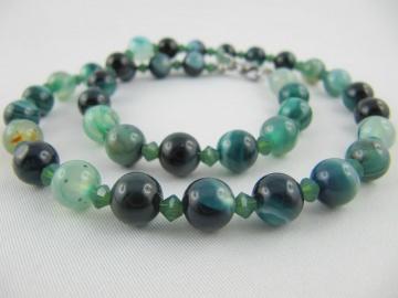 Kette Perlen Achat Grün (E22)  - Handarbeit kaufen