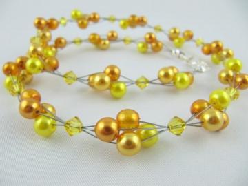 Collier Gelb / Orange Perlen (363) - Handarbeit kaufen