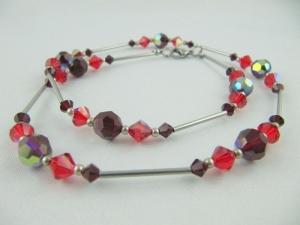 Kette Rot Dunkelrot Perlen (276) - Handarbeit kaufen