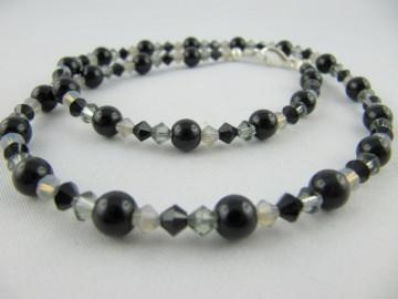 Kette Perlen Schwarz / Grau (321) - Handarbeit kaufen