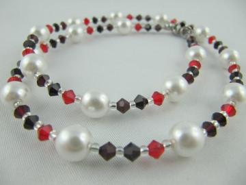 Set Weiß / Rot Kette Armband Ohrringe (431) - Handarbeit kaufen