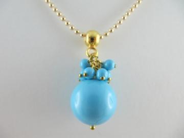 Lange Kette Perlen Turquoise Türkis (237) - Handarbeit kaufen