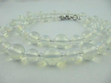 Kette Armband Ohrringe Opal Perlen Weiß (461) - Handarbeit kaufen