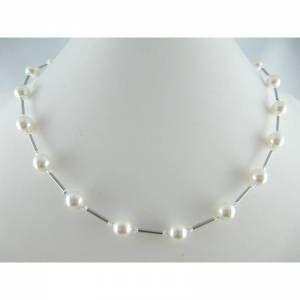 Kette Weiß  / Silber Perlen (335) - Handarbeit kaufen