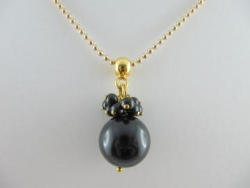 Lange Kette Perlen Gold Schwarz (237) - Handarbeit kaufen