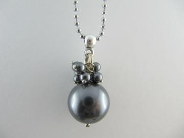 Lange Kette Perlen Dunkelgrau (150) - Handarbeit kaufen