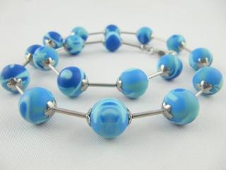 Kette Blau Polaris Perlen gestreift Polarisperlen Polariskette (475) - Handarbeit kaufen
