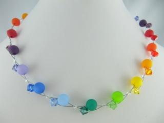 Collier Regenbogen Bunt Polaris Perlen (420) - Handarbeit kaufen