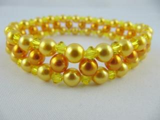 Armband gefädelt Perlen Gelb Orange (A09) - Handarbeit kaufen