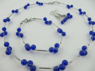 Kette Armband Ohrringe Perlen Blau (477) - Handarbeit kaufen