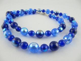 Kette Glasperlen Blau Perlenkette (049) - Handarbeit kaufen