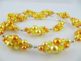 Collier Perlen Gelb Orange (273) - Handarbeit kaufen