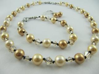 Kette Armband  Ohrringe Perlen Gold (442) - Handarbeit kaufen