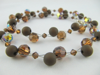 Collier Braun Dunkelbraun Polaris Perlen (212) - Handarbeit kaufen