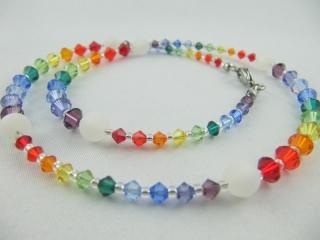 Kette Bunt Regenbogen Polaris Perlen Poalriskette (473) - Handarbeit kaufen