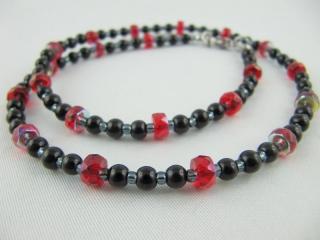 Kette Perlen Schwarz / Rot (429) - Handarbeit kaufen