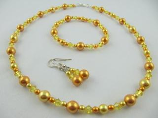Set Gelb Perlen Kette Armband Ohrringe (364) - Handarbeit kaufen