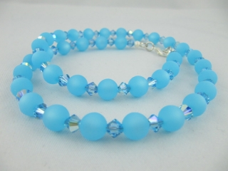 Kette Blau hellblau Aqua Polaris Perlen (259) - Handarbeit kaufen