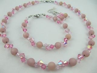 Set Rosa Polaris Kette Armband Ohrringe (515) - Handarbeit kaufen