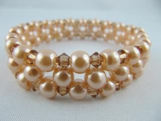 Armband gefädelt Perlen Beige (A08)