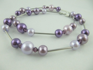 Kette Lila / Flieder Perlen Perlenkette Glaswachsperlen (277) - Handarbeit kaufen