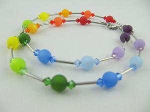 Kette Bunt Regenbogen Polaris Perlen Polariskette (524) - Handarbeit kaufen