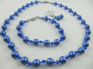 Kette Armband Ohrringe Perlen Blau (500) - Handarbeit kaufen