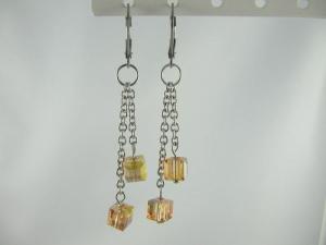 Ohrringe Würfel Metallic Sunshine Gelb / Gold  - Handarbeit kaufen