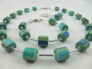 Set Kette Armband Ohrringe Polaris Walzen Grün / Blau Polariskette (445) - Handarbeit kaufen